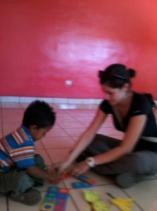 Playing with the children in El Salvador