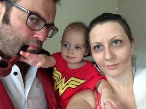 Fun Halloween Family: Vincent Price, Wonder Woman, and Mombie.