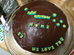 My fav - yellow cake with chocolate frosting with the same kind of letters I used to put on the girls' birthday cakes when they were little.